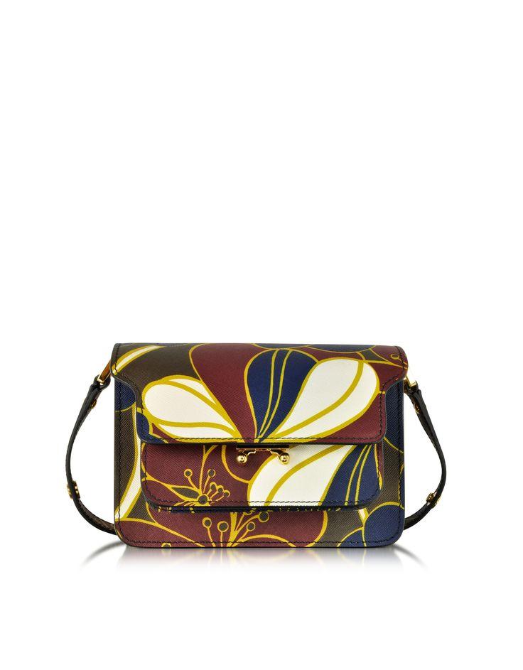 Marni Macro-Flower Printed Leather Mini Trunk Bag at FORZIERI