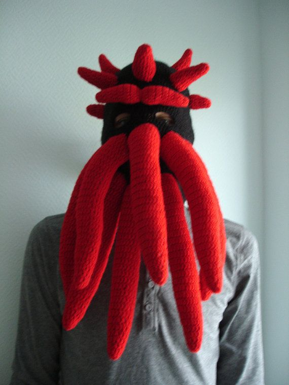 Custom Cthulhu inspired ski mask with a tail and horns ...