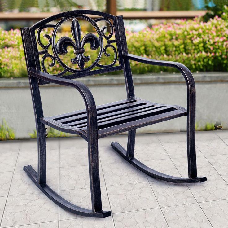 Costway Patio Metal (Grey) Rocking Chair Porch Seat Deck Outdoor Backyard Glider Rocker, Patio Furniture (Bronze)