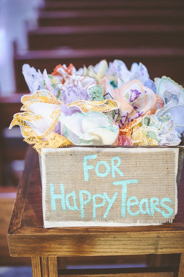 WISH I had done this. Great idea! this would be so cute to have at the wedding: it's a collection of vintage hankies for all the happy tears!