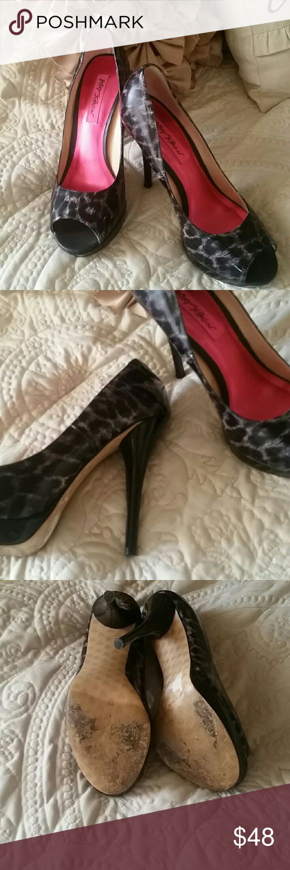 Sale!!! Betsey Johnson heels Black and gray animal print, open/peep toe, heels in excellent condition.  Worn once for homecoming dance. Small platform. 5 inch heel.  Does not have box Betsey Johnson Shoes Heels