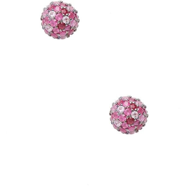 Effy Women's Sterling Silver Ruby & Multi-Color Pink Sapphire Stud... (£125) ❤ liked on Polyvore featuring jewelry, earrings, red, ruby stud earrings, stud earrings, ball earrings, ruby earrings and colorful stud earrings