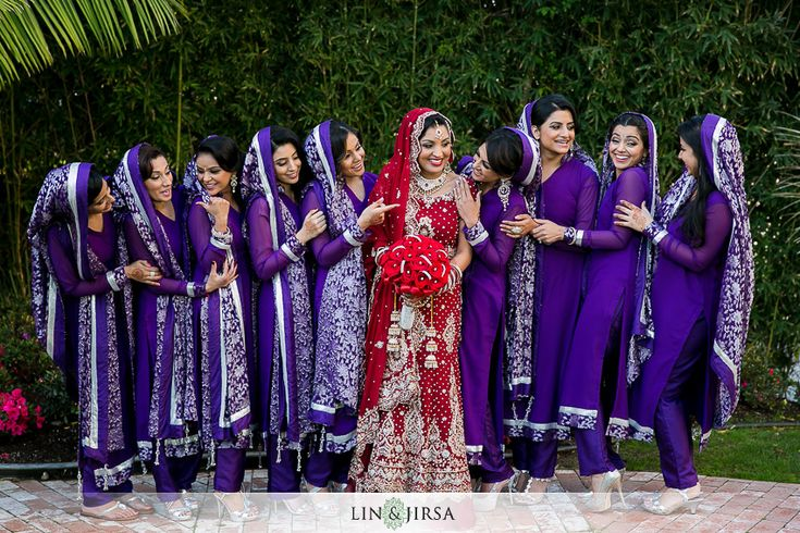 South Asian wedding (traditional red sari bride) Purple + White bridesmaids | Lin & Jirsa Photography