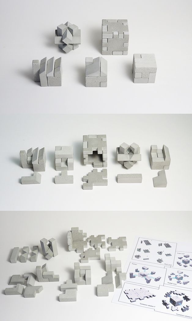 "The five concrete 3-D puzzles are all composed of six elements except the ""factory"" which has seven.  They are individually packaged in an inventive brown cardboard packaging, and then in a neat..."