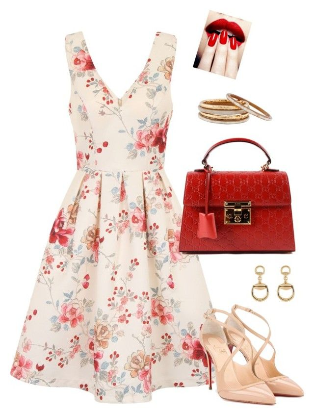 """""""Valentine's Date Outfit (Women)"""" by saskyyy on Polyvore featuring Chi Chi, Gucci, Nest and Christian Louboutin"""