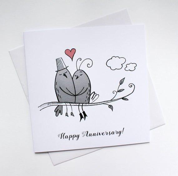 Anniversary Card First Wedding Anniversary Card Love Birds Love Card Cute Gift Card For Her Illustrated Card Wedding Card Art Card Anniversary Cards Love Cards Funny Anniversary Cards