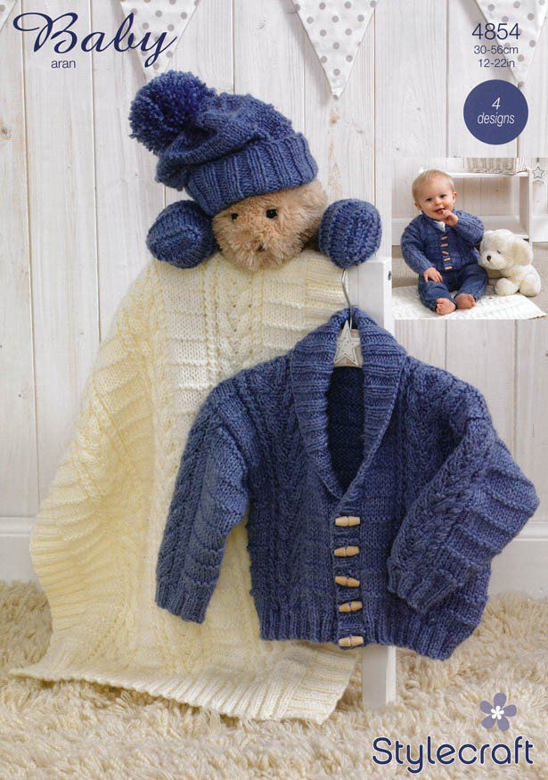 Jacket, Scarf, Hat, Mittens & Blanket in Stylecraft Baby Aran (4854) | Scarf Knitting Patterns | Knitting Patterns | Deramores