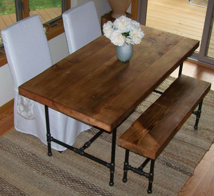 Reclaimed Wood Table with industrial pipe legs. Thick top 60
