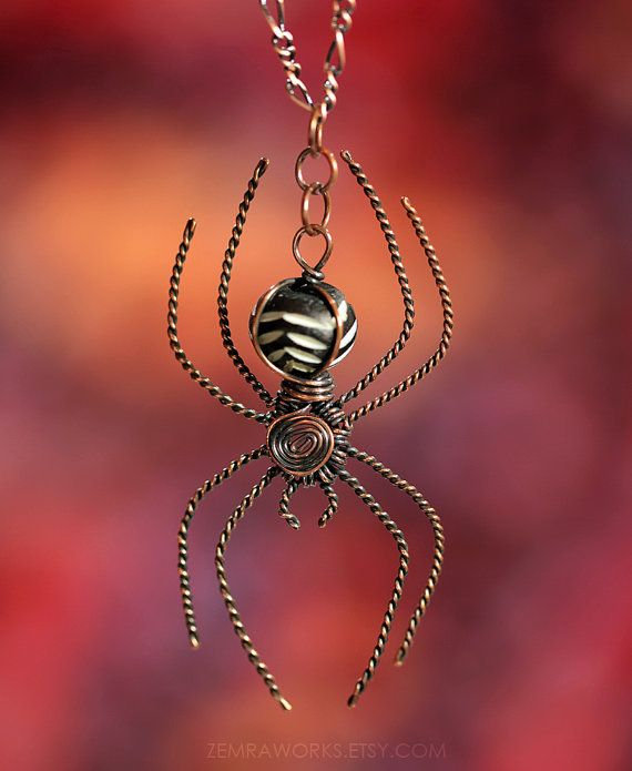 Pretty. I want it. Orb Weaver Spider Pendant Necklace Wire Wrapped by ZemraJewelry, $20.00