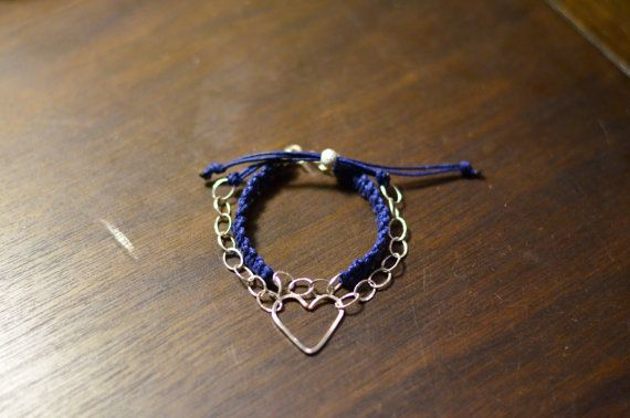 Adjustable Silver  Heart and Chain Bracelet by CreationsOfJackieL