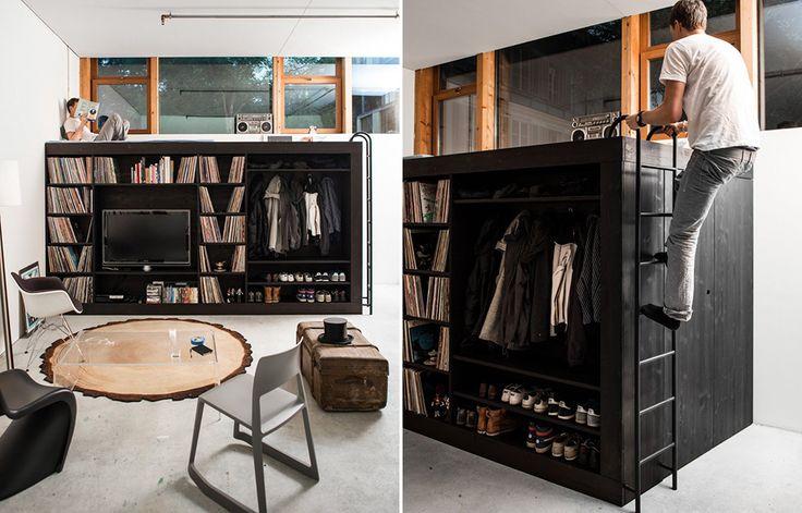 Pra pequenos espaços: guarda-roupa, cama, estante e depósito num móvel só: Decor House, Casa Canto