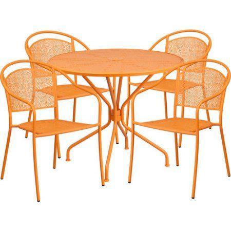 Flash Furniture 35 25 Round Indoor Outdoor Steel Patio Table Set