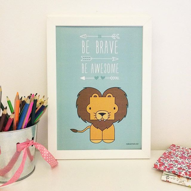 Be Brave & Be Awesome  abcanimals.com posters for cool kids  #coolkids #happykid #kidsroomdecor #bravekid #awesome #kidsroom #nursery #inspirationalquotes