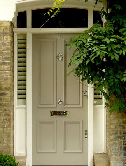 London Doors, Front Door, Victorian / Edwardian Door. Similar nickel door fittings, door knocker, door knobs and letter plate from Priors: http://www.priorsrec.co.uk/original-nickel-letter-plate-/p-3-33-73-361