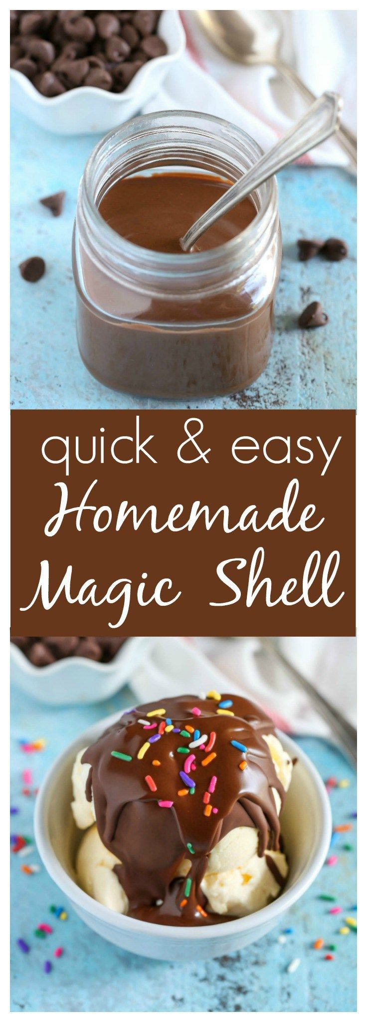 An easy recipe for Homemade Microwave Magic Shell with just two ingredients. The perfect topping for almost any ice cream!