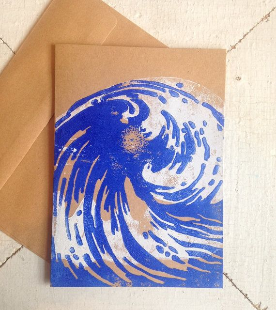Block printed wave card!
