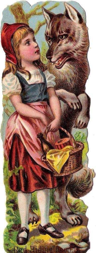 Oblaten Glanzbild scrap die cut Märchen fairytale Rotkäppchen red riding hood