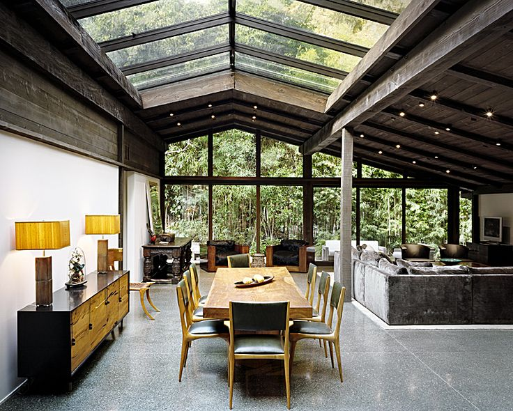 The Experimental Ranch House, designed by Cliff May as his personal residence, is situated in the Sullivan Canyon area of Los Angeles. The house was completed in 1952 and is thought to be a unique example of the evolution of Ranch House design.
