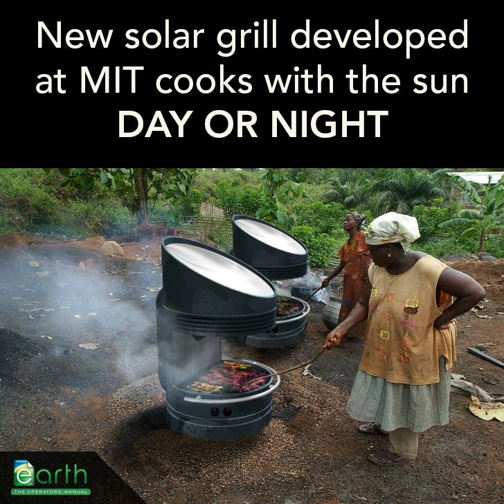 A #solar_grill developed by Professor David Wilson at MIT allows users to cook emissions-free day or night. The grill uses a Fresnel lens and solar energy to melt down a container of Lithium Nitrate, which acts as a battery storing thermal energy for up to 25 hours. The stored heat can be used to cook at temperatures above 450ºF.