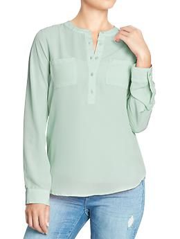 Old Navy Women's Long-Sleeve Crepe Blouses - Posh Purple Neon OR Aqua On Ice OR Twilight Lagoon OR Silver Sash Brown - size Small