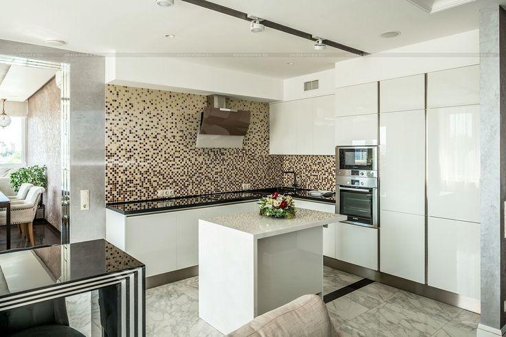 Кухня, кухонный остров, белый в интерьере
