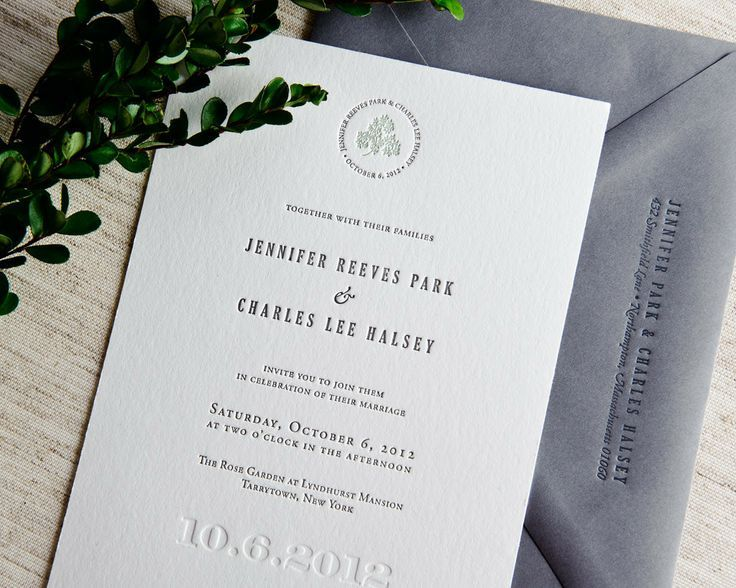 Our Signature wedding invitations breathe elegance from inside to outside. The design features a delicate circle of text at the top, with the couple's names and the wedding date, encircling a small gr