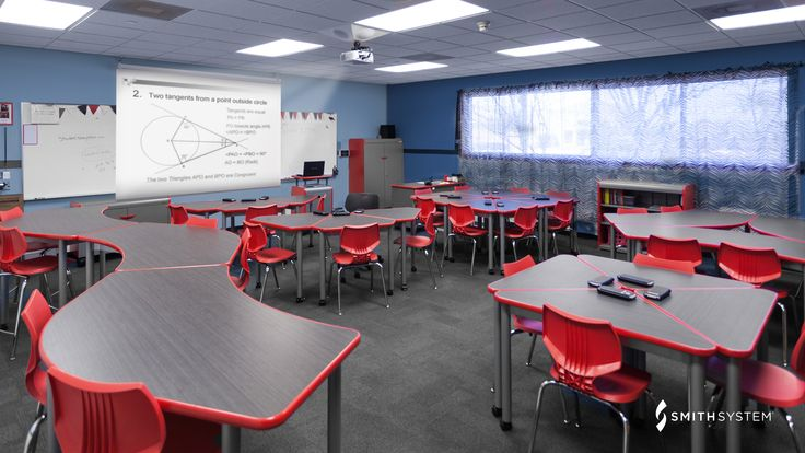 Classroom with UXL Crescent Desks, Flavors Seating, Interchange Wing Desks, Interchange Diamond Desks and Cascade Storage