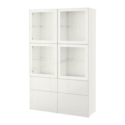 BESTÅ Storage combination w glass doors - white/Selsviken high-gloss/white clear glass, drawer runner, soft-closing - IKEA