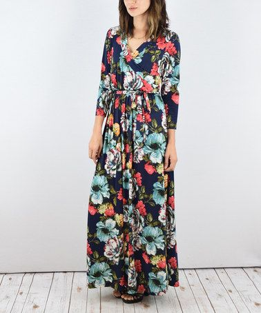 $32.99 marked down from $79.99! Navy & Mint Floral Maxi Dress #floral #colorful #navy #maxi #dress #zulilyfinds