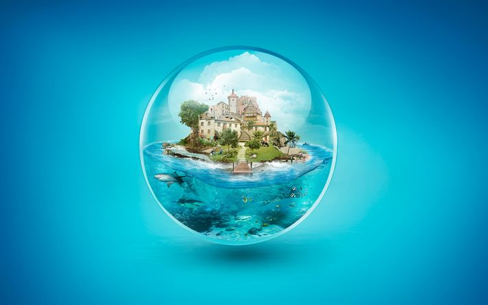 Download imagens ilha, 4k, vivenda, mar, bolha, mundo subaquático, tubarões