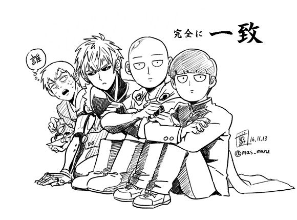"""sumio-or-suomi: """"ワンパンアニメやっと見ました記念。 I watched anime of ONE PUNCH MAN and drew this. """""""