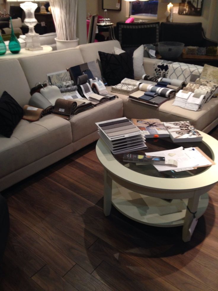 Preparation for a design presentation @Robert Allen Design. Benjamin Moore paint choices along with new custom furniture in custom fabrics and Italian leather to complete a family room. Canadian made furniture. www.polancohomedecor.com
