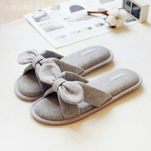 Comfortable Cute Bowtie Japanese Indoor Cotton Slippers Grey Or Pink