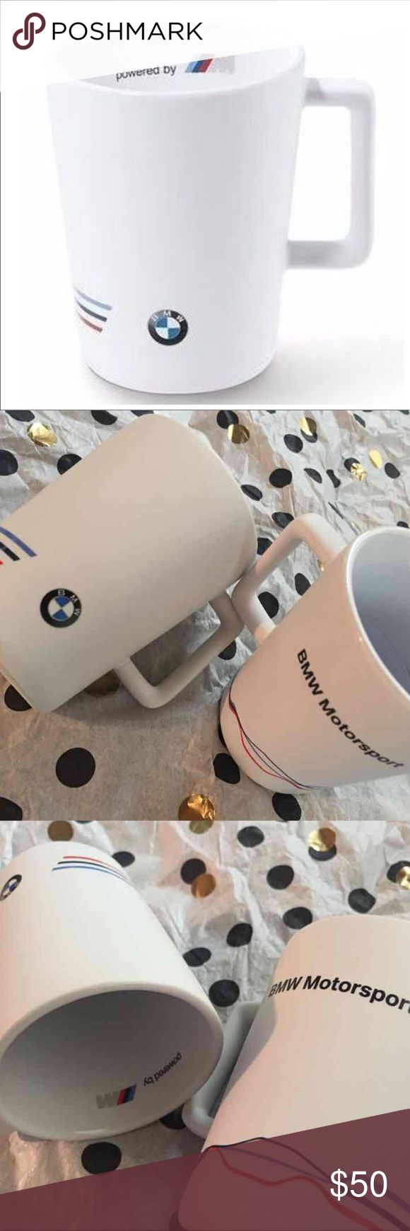 """(2) New BMW Motorsport Ceramic Coffee Mugs Pair/Set of 2 Brand New in Box. NIB. NWT. BNIB. From BMW Dealership. Matte White outer and Glossy White inner.  Rectangular handle. Both are identical. Capacity: 10 ounces / 10oz / 300mL. 4.13"""" Retail $50. Brisette BMW Other"""