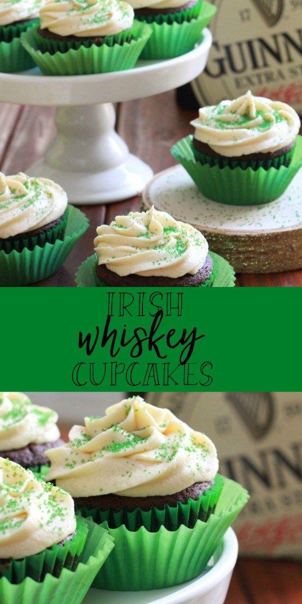 Irish Car Bomb chocolate cupcakes are made with Guinness® stout, Bailey's® Irish cream and Jameson® Irish whiskey!