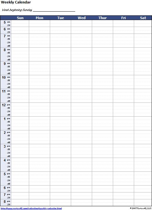 Free Weekly Calendar Template---This is so perfect for customizing and planning out summer activities! Copies right to Excel!
