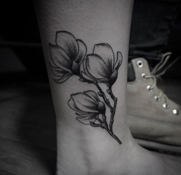 Blackwork Floral Tattoo by Levi Jake