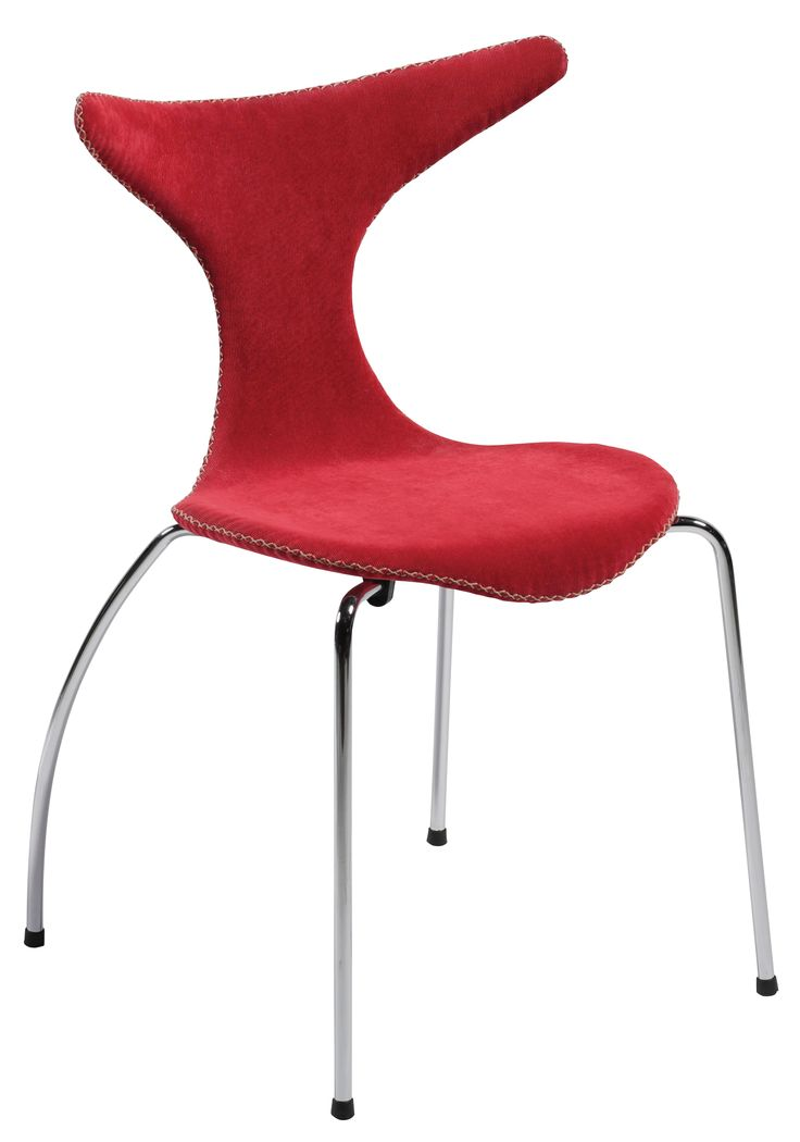 DOLPHIN dining chair in red corduroy with stitches