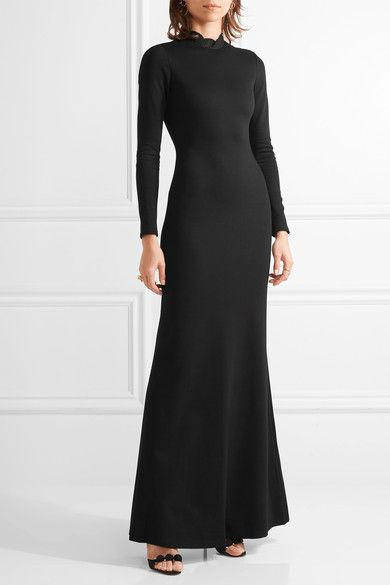 Black stretch-jersey and lace Concealed hook and zip fastening at back 74% viscose, 20% nylon, 6% elastane; trim: 75% viscose, 25% nylon; lining1: 84% nylon, 16% elastane; lining2: 100% silk Dry clean