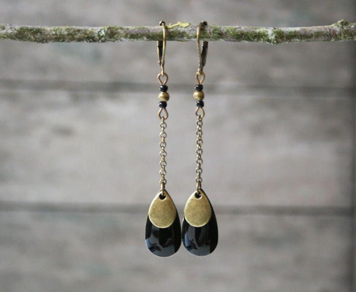 Boucles d'oreilles ethniques couleur bronze, gouttes noires - Bijoux ethniques - Bijoux de créateur : Boucles d'oreille par joaty