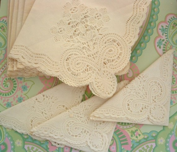 lace paper napkins With etsy, buyers like you can find hundreds or thousands of unique, affordable lace napkins vintage, elegant venice lace set of 4 napkins paper white lace corner 18 x 18 inch set of 4 brand new, old store stock 25 burlap & lace beverage sized wedding party paper napkins - shabby chic / rustic decor.