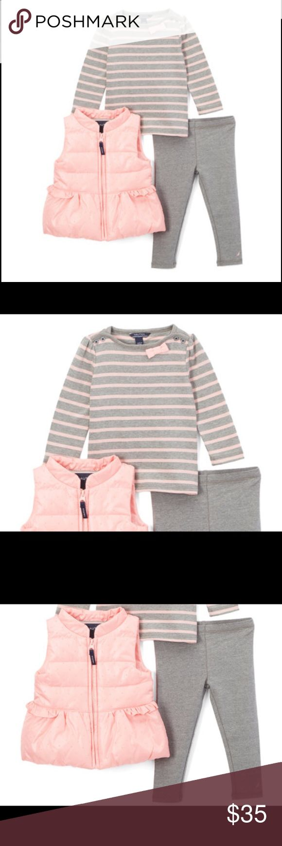 NWT Nautica 3pc Puffer Vest Top Leggings Set Pink Stripe Vest Set - Infant Girls  Nautica   This vest, long-sleeve tee and matching leggings make for a fresh layered look for your little lady's cool-weather wardrobe. Color. Pink and gray   Includes vest, tee and leggings Vest: 100% polyester Tee and leggings: 60% cotton / 40% polyester Machine wash; tumble dry Imported Retail. $69.50 Brand new with tags. Nautica Matching Sets