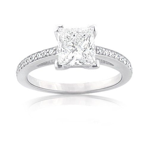 Custom Made Engagement Rings: This Fabulous Princess Cut Diamond  Ring in Platinum weighs approximately 6 grams and showcases a dazzling 1-carat certified G