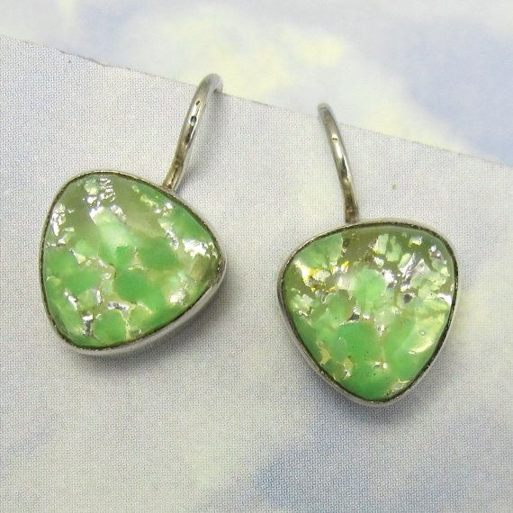 Green Opal Earrings Sterling Silver Vintage by NicolettesJewelry, $31.00