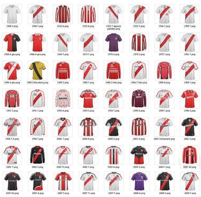 Argentina: Algunas camisetas históricas de   River Plate