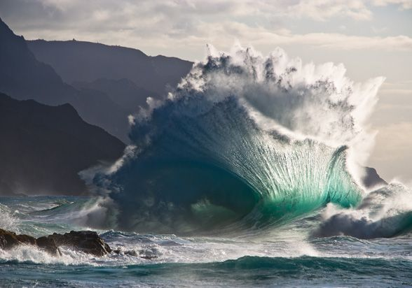 Ocean wave on Kauai. National Geographic.