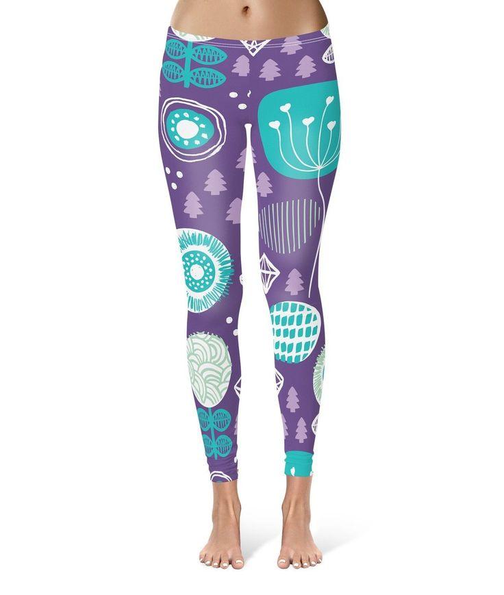 Winter Garden Purple Leggings For Women Sizes Xs-3Xl Lycra Gym Yoga Full Length