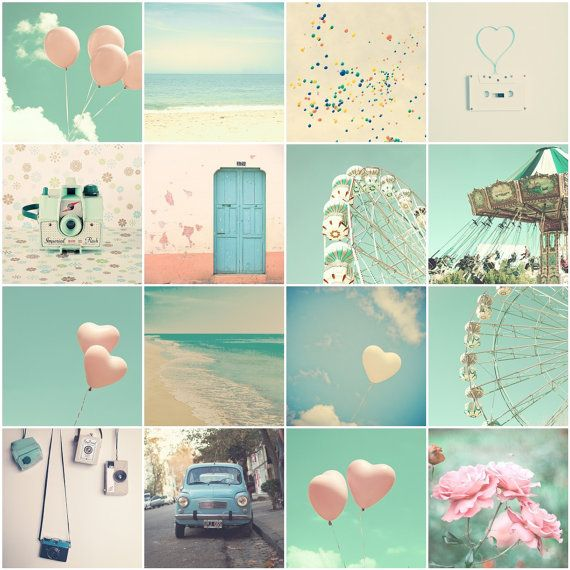 SALE, Nursery art, nursery decor, balloons, beach art, turquoise, pink heart, love heart, sky, carousel, camera,  baby print, nautical baby