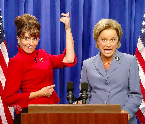 Tina Fey and Amy Poehler as, Sarah Palin and Hilary Clinton on SNL.