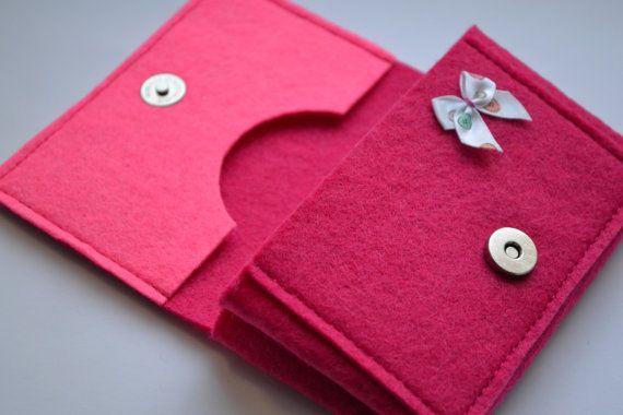 Pink Felt Wallet With a Bow  Felt Wallet for Girl  by NastasiaFelt